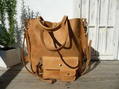 Leather tote large leather tote camel by SanumiLeatherGoods
