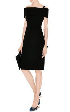 Draped Neck Wool-Blend Dress by Oscar de la Renta - Moda Operandi