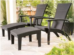 Wicker Adirondack Deck Chairs