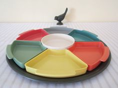 RETRO Mid Century 1950s serving tray divided harlequin  by Arcq, $50.00