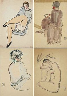 Sanyu, 4 works: Writing; Lifting Up a Leg; Lady in Curled Hair;  Resting Nude