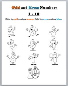 Odd & Even Numbers Worksheet- Printable