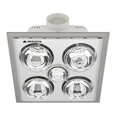 mercator silver lava quattro bathroom heater and exhaust with light