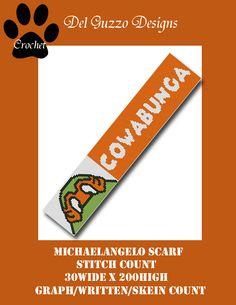 (4) Name: 'Crocheting : TMNT Michaelangelo Scarf CROCHET GRAPH