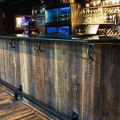 Paulie's Toasted Barrel reclaimed wood bar