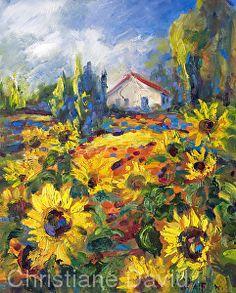 Sunflower Farm 0302189 Oil on Canvas by Christiane David
