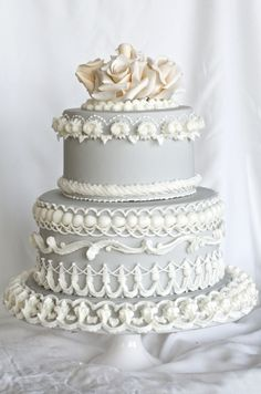 Light grey piped wedding cake with peach gumpaste roses -handmade by Finespun Cakes & Pastries