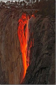 horsetail falls, yosemite. one day out of the year in february, the sun sets and hits it just right to make the falls look like lava! way good! Going there this weekend!