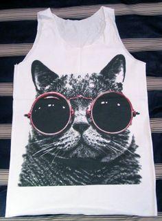 Cat Red Glasses Shirt  Cat Shirt Animal Shirt White by panoTshirt, $16.00 i love cat shirts