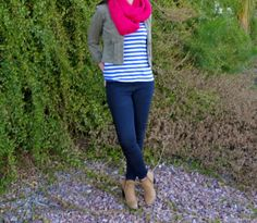 Striped Tee + Jacket + Skinny Jeans + Ankle Booties #outfit #ootd #style #blog #fashion