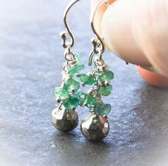 Emerald And  Pyrite Drop Earrings. Natural Emerald by WildAsters, $56.00