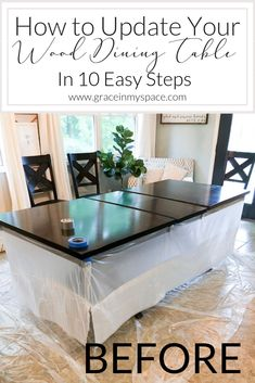 Ever wonder how to refinish outdated furniture Affordably update your home decor with a DIY tutorial on how to strip and refinish a wood dining room table fromhousetohaven wooddiningtable diningroomdecor # Dining Table Makeover, Farmhouse Dining Room Table, Dinning Room Tables, Dining Room Walls, Dining Room Design, Dining Room Makeovers, Painted Dinning Room Table, Dining Table Decorations, Dinning Room Paint Ideas