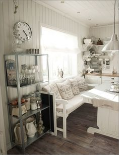 ...this shelf....for inside the door???  Oh, AND that clock!!!!!!  <3 <3 IKEA Hyllis shelving unit, rustic, white, wood kitchen
