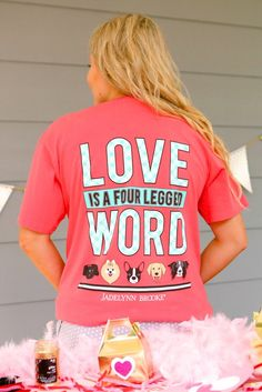 Jadelynn Brooke short sleeve t-shirt. Love is a Four Legged Word - Short Sleeve Pocket Tee
