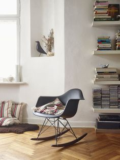 @vitra #Eames molded plastic rocking chair and an Eames House Bird