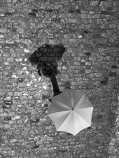 umbrella after the rain I Love Rain, No Rain, Shadow Photography, Art Photography, Under My Umbrella, Shadow Play, Parasol, Dancing In The Rain, Black And White Pictures