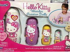 Official Sanrio Hello Kitty Wooden Russian Matryoshka Nesting Dolls 5 Packs Set