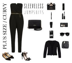 """Plus Size / Curvy Sleeveless Jumpsuit"" by jessicasanderstx ❤ liked on Polyvore featuring Byredo, Trish McEvoy, Gucci, Bobbi Brown Cosmetics, Givenchy, NARS Cosmetics, Ray-Ban, Kate Spade, Hallhuber and Fuji"