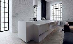 Tamizo Architects | white minimal kitchen. warehouse space. white round range hood