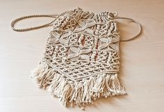 Vintage Handmade Hippie Purse Macrame with Fringe by TheWildWorld, $22.00