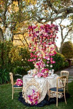 Whimsical Wedding  Flower Hanging Table Decor. Pink Whimsical Garden Wedding