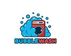 Bubble Wash Logo design - Logo design of a washing machine with foam bubble around it. Price $350.00 Graphic Design Branding, Label Design, Logo Design, Laundromat Business, Laundry Logo, Machine Logo, Laundry Service, Dry Cleaning, Washing Machine
