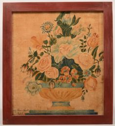19th Century Painting on Velvet Theorem of Flowers in an Urn. Signed lower left Emily Diane Hall, 1833. Image size 15 3/4h. x 13 3/4w., in a modern red painted frame, 18 1/2h. x 16 1/2w.