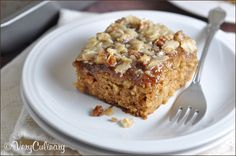 Oatmeal Cake - a moist oatmeal cake topped with a coconut and pecan streusel.