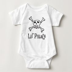 "A cute baby onesie featuring a cartoon pirate skull and crossbones . Below is the text ""Lil' (little) pirate"". The shirt can be personalized by for example adding a name. Makes a cute baby shower gift for mothers expecting a boy."