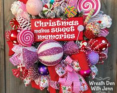 Christmas Wreath ~ Christmas Decor ~ Candy Wreath ~ Holiday Wreath ~ Holiday Decor ~ Candy Land Wreath is part of Christmas decor Office - wreathdenwithjenn Gingerbread Christmas Decor, Candy Land Christmas, Grinch Christmas Decorations, Christmas Ribbon, Christmas Time, Christmas Crafts, Christmas Ornaments, Candy Land Decorations, Office Christmas