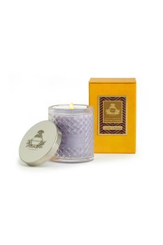 Lavender & Rosemary Candle Agraria's Crystal Candles are presented in a decorative crystal glass that is a modern interpretation of the woven palm leaf cases that were an Agraria trademark in the 1980s. The intricate glass pattern accentuates the movement of the flame to create a luminous and mesmerizing glow. Each 7 oz/198 gram candle includes a sliver-plate lid stamped with the Agraria crest.    Approximate burning time: 30-40 hours.   Lavender & Rosemary Candle by Agraria. Home & Gifts…