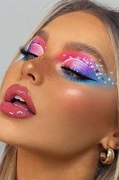 Dope Makeup, Makeup Eye Looks, Eye Makeup Art, Pretty Makeup, Eyeshadow Makeup, Makeup Inspo, Rave Eye Makeup, Mermaid Eye Makeup, Brown Eyeshadow