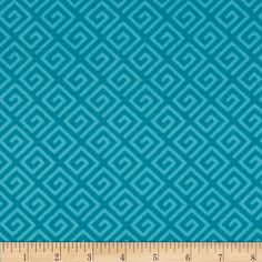 """108"""" Wide Quilt Back Greek Key Teal from @fabricdotcom  Designed by Whistler Studios for Windham Fabrics, this 108"""" wide quilt backing is perfect for quilt backing, duvets, light curtains and more! Colors include shades of teal blue."""