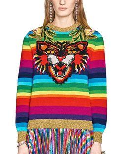 3e4b51c7c3da65 Polychrome Stripe Embroidery Tiger Long Sleeve Knit Sweater  choies Aud