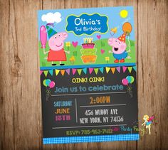 Peppa Pig Party Invitation Peppa Pig and George by CutePartyFairy