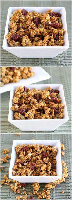 Pumpkin Granola Recipe on twopeasandtheirpod.com Love this fall granola! #pumpkin