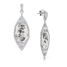 Saqqara Jewels. Gatsby Earrings.... These slices of diamonds whisper of timeless beauty. Available at www.saqqarajewels.com with a larger selection available at #brownsfashion. Laid back elegance at its best! #saqqarajewels #sliceddiamonds #diamondearrings