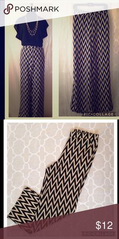 Chevron Palazzo Pant This high waisted pants are easy, chic, comfy and cool. Would look fab as styled in pic with a hat, shades and a wedge. Like new. Never worn. Pants Wide Leg