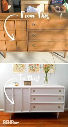 It doesn't take much to create a stylish piece of furniture for your home. All you need is a fresh coat of paint! Check out this easy tutorial from Larissa, of Prodigal Pieces, to learn how you can get this chic piece in your house. Larissa used a neutral shade of Bleached Linen to give her outdated wooden dresser a funky mid-century modern look.
