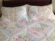 """Jelly roll quilt - paper pieced 10"""" blocks individually quilted and sewn together leah day's method of QAYG"""