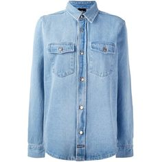 Les (Art)ists Fashion Killa Denim Shirt ($140) ❤ liked on Polyvore featuring tops, light blue, blue print top, shirt tops, blue top, blue patterned shirt and light blue shirts