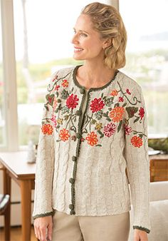 Orvis Women's Floral Embroidered Cardigan- Sweater photo