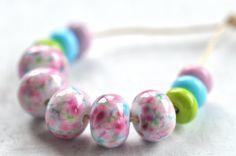 P i n o c e a n lampwork beads set 11  spring frit  by pinocean, $26.50