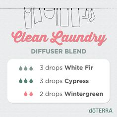 Clean Laundry diffuser blend-I use only doTERRA's high-quality essential oils. To order, message me or shop here: https://www.mydoterra.com/ShoppingCart/index.cfm