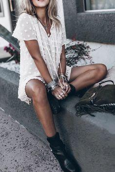 Asymmetric Neck Fringe Dot Plain Casual Dresses – Helonano