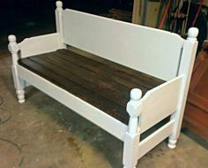 Bench made from old bed