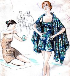 Glamorous Vintage 1950's Vogue Bathing Suit and Stole by anne8865, $85.00
