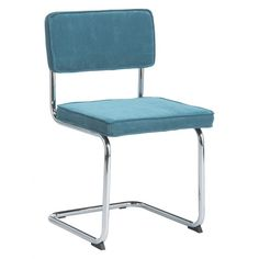 SEVILLA Teal blue cantilevered dining chair |