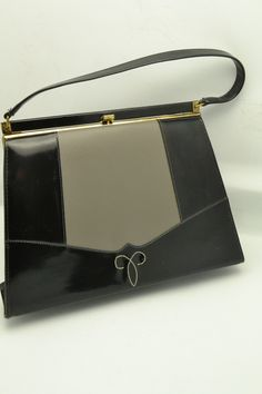 Vintage Womens Life Stride Handbag Black & Gray Simulated Patent Leather Over the Wrist Great Gift for Her