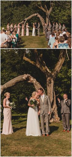 Wedding ceremony at Hope Glen Farm in Cottage Grove, MN. Floral designed by Minnesota wedding florist, Artemisia Studios. Photos by @julesandcait (http://www.julesandcait.com/). #julesandcait #hopeglenfarm #outdoorwedding #wedding #weddingceremony #bride #groom #willowtree #farmwedding #bridesmaids #bridesmaidsdresses #groomsmen #boutonniere #bridesmaidbouquet #flowers #saintpaulweddingflorist #minnesotaweddingflorist #artemisiastudios